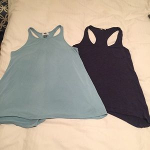 Two racer back tanks, purple and dusty blue